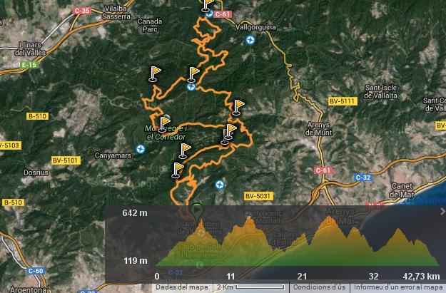 Recorregut i perfil de la cursa. Font: Wikiloc