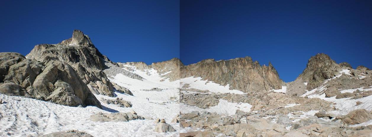Panoràmica a peu de glaçera. A l'esquerra el Pic Ramougn, a la dreta la Bretxa Chausenque.